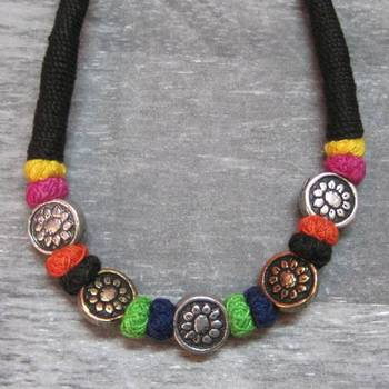 black flower coin necklace