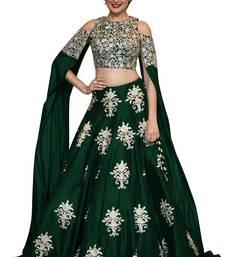 Buy  Green raw silk embroidered semi stitched lehenga choli material  lehenga-choli online
