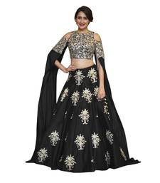 Buy Rozy Fashion Black raw silk embroidered semi stitched lehenga choli material lehenga-choli online