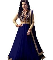 Buy Dark blue embroidered net salwar anarkali-salwar-kameez online