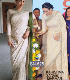 Buy Cream embroidered georgette saree with blouse bollywood-saree online