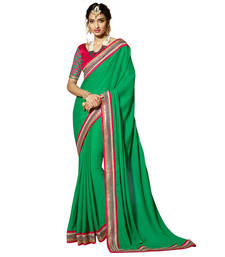Buy Green Embroidery Crepe and Jacquard saree with blouse wedding-season-sale online