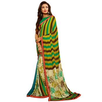 Multicolor Printed Work Crepe and Jacquard saree with blouse