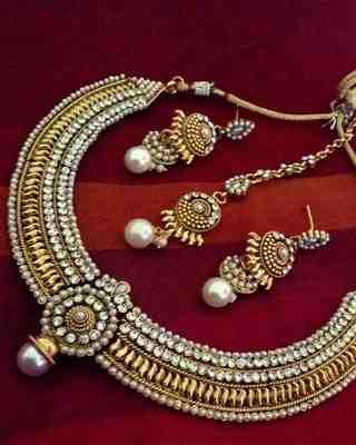 Ethnic Indian Bollywood Fashion Jewelry Set Polki Necklace Set