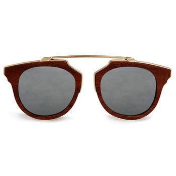 Oro Silver Retro Wooden Sunglasses