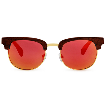 Fabiano Red ClubMaster Wooden Sunglasses