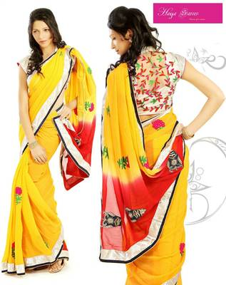 Georgette Shaded Chery Yellow Saree with FREE Stitched Blouse shown below + Red Unstitched blouse