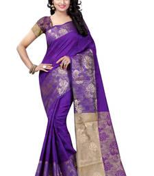 Buy Violet hand woven banarasi silk saree with blouse art-silk-saree online