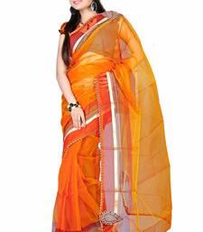 Buy Orange Embroidered Tissue Saree With Blouse tissue-saree online