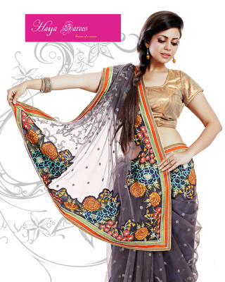 Super Net Saree with  Thread Work