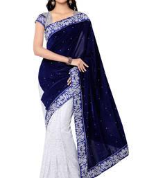 Buy Blue Embroidered Velvet Saree With Blouse velvet-saree online