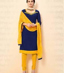 Buy Navy blue plain chanderi salwar with dupatta salwar-kameez online