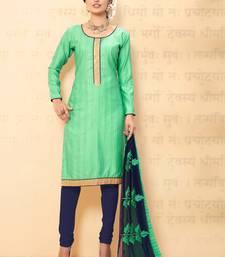 Buy Sea green plain chanderi salwar with dupatta salwar-kameez online