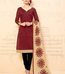 Buy Maroon plain chanderi salwar with dupatta salwar-kameez online