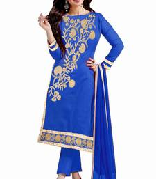 Buy Blue embroidered cotton salwar with dupatta salwar-kameez-below-2000 online