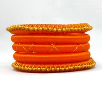 Stylish and Elegant orange Silk thread bangle 2.6 (5 PCS)