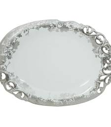 Buy Addox Elegant Floral White serving plate with silver polish decorative-plate online