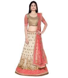 Buy Beige embroidered silk unstitched lehenga with dupatta bridal-lehenga online
