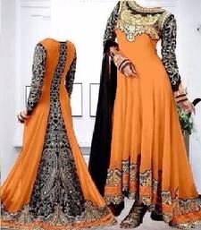 Buy orange embroidered georgette semi stitched salwar with dupatta anarkali-salwar-kameez online