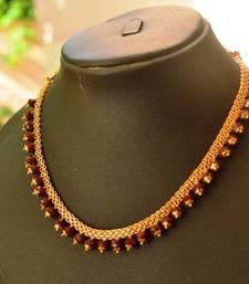 Buy Maroon crystal necklace Necklace online