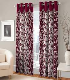 Buy Set Of 2 Door Eyelet Maroon Fancy Printed Curtains curtain online
