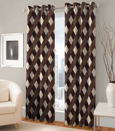 Buy Set Of 2 Door Eyelet Brown Simple Printed Curtains other-home-furnishing online