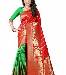 Buy Orange woven art silk saree with blouse organza-saree online
