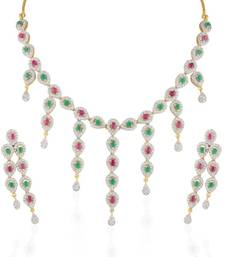 Buy Heena Contemporary collection Red & Green stone Necklace set >> HJNL137RG << necklace-set online