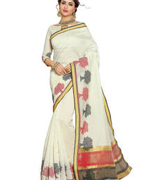 Buy Off white woven chanderi saree with blouse chanderi-saree online