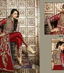 Buy Red embroidered georgette salwar with dupatta semi-stitched-salwar-suit online