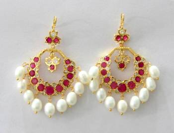 ETHENIC POLKI RUBY N REAL WHITE PEARLS HANGINGS IN CHAND BALI STYLE