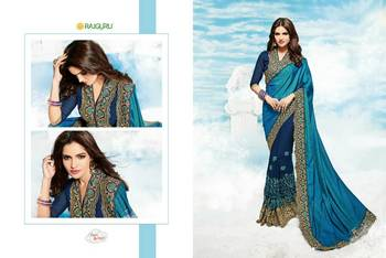 aqua_blue embroidered chiffon saree with blouse