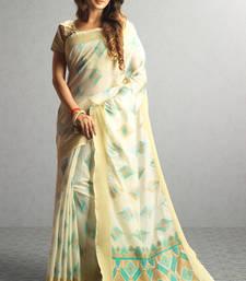 Buy cream woven cotton saree with blouse cotton-saree online