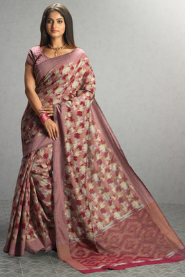 light_pink woven cotton saree with blouse