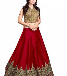 Buy Red embroidered silk unstitched lehenga with dupatta fashion-deal online
