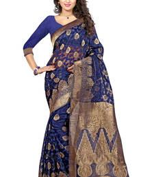 Buy Blue woven banarasi saree with blouse brasso-saree online