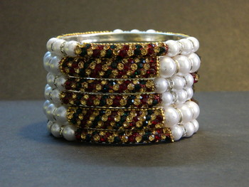Sparkly Multi Color Bangles with White Pearl