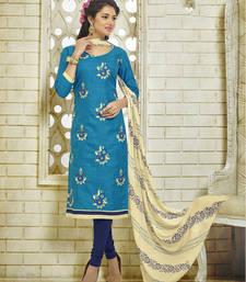 Buy Teal Blue embroidered Khadi Silk unstitched salwar with dupatta khadi-salwar-suit online