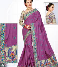 Buy Light violet hand woven manipuri silk saree with blouse manipuri-silk-saree online