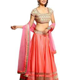 Buy Peach embroidered silk unstitched lehenga with dupatta lehenga-below-3000 online