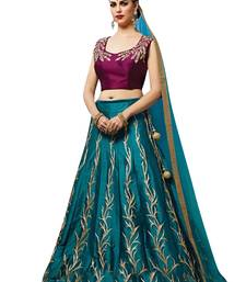 Buy Light blue embroidered silk unstitched lehenga with dupatta black-friday-deal-sale online