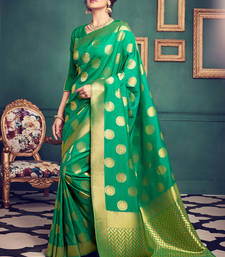Buy Green woven kanchipuram silk saree with blouse kanchipuram-silk-saree online