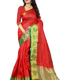 Buy Red woven art silk saree with blouse hand-woven-saree online