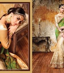 Buy Green embroidered jacquard saree with blouse lehenga-saree online