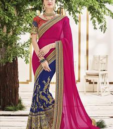 Buy Pink Art Silk Embroidery Designer Saree wedding-saree online