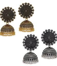 Buy Oxidised Gold & Silver Plated Handmade Jhumka Jhumki Earrings combo-earring online