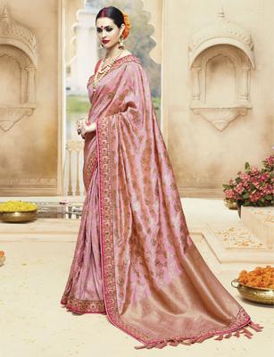 Peach embroidered kanchipuram silk saree with blouse
