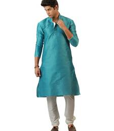 Buy Amora Designer Ethnic Sky Blue Blended Silk Kurta Churidar Set For Men kurta-pajama online