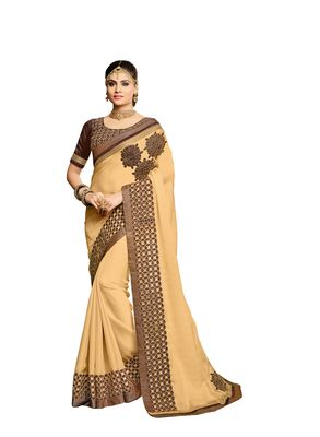 Gold embroidered faux georgette saree with blouse
