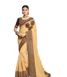 Buy Gold embroidered faux georgette saree with blouse diwali-sarees-collection online